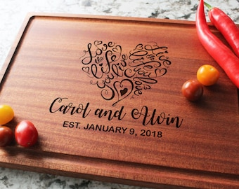 Personalized, Engraved Cutting Board with Cute Heart Design for Wedding or Engagement Gift #041