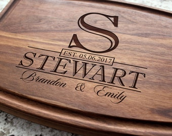 Personalized, Engraved Cutting Board with Classic Monogram Design for Wedding or Anniversary Gift #015