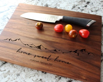 Personalized, Engraved Cutting Board with Minimalist Mountain Design for Housewarming or Wedding #103