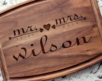 Personalized, Engraved Cutting Board with Romantic Mr & Mrs Design for Wedding or Engagement Gift #021