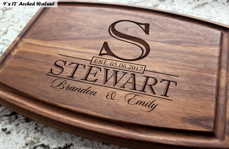 Personalized Engraved Cutting Board with Classic Monogram image 0