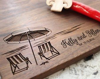 Beach Destination Design- Engraved Cutting Board, Custom Cutting Board, Wedding Gift, Housewarming Gift, Engagement W-051 GB