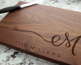 Personalized, Engraved Cutting Board with Minimalist Initial Monogram Design for Housewarming or Wedding #080