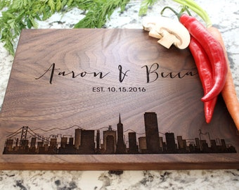 Personalized, Engraved Cutting Board with Modern City Skyline Design for Housewarming or Wedding Gift #050