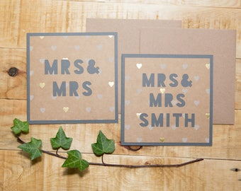 Mrs & Mrs Wedding / Civil Ceremony Congratulations Card