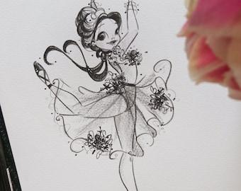 ORIGINAL Edgar Degas Inspired 20th Century Ballerina Pencil Illustration