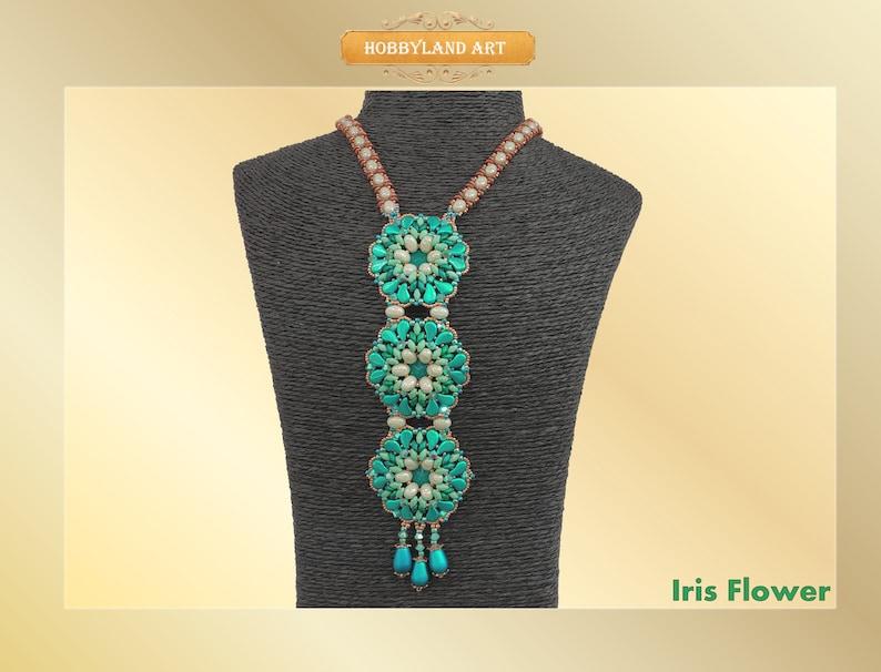 Beading tutorial,Iris Flower lariat necklace seed beads,SuperDuo,0 beads .PDF Tutorial 2 hole Paisley Duo samos bead