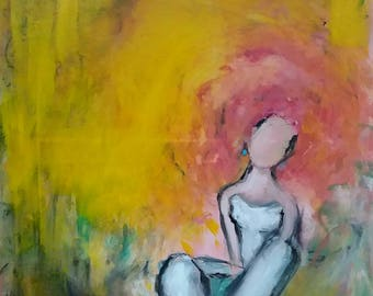 Woman figure sitting, figurative woman painting, original art, yellow-pink painting