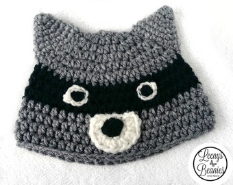 7ce0cc05 Crochet Raccoon Hat Beanie - Any size Newborn to Adult