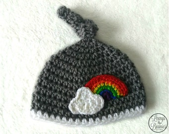 f2930d2279d Rainbow Baby Hat in Any Size or Color   Top Knot beanie   Crochet Rainbow  Beanie   Knotted Newborn hat