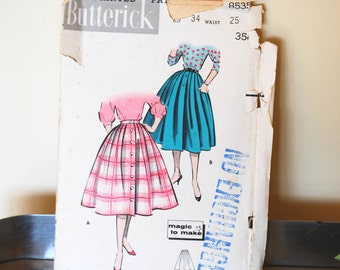 1950s Butterick 8535 Sewing Pattern/ 50s Full Skirt/ New Look Circle Skirt/ Waist 25/ Size XS