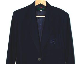 1980s Abercrombie and Fitch Blazer/ Navy Wool Blazer/ Size 8