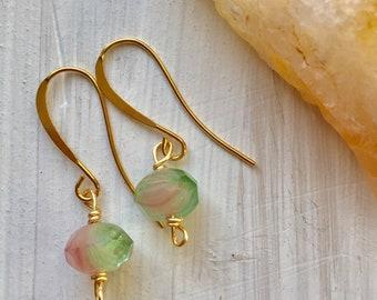 Watermelon tourmaline gold plated earrings, tourmaline earrings, dainty tourmaline earrings, minimalist earrings, dainty gold earrings