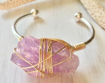 Raw amethyst bracelet, purple quartz bracelet, raw crystal boho bracelet, boho bracelet, February birthstone bracelet