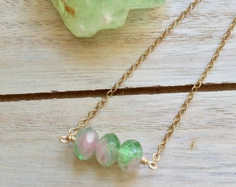 Watermelon tourmaline gold filled necklace, watermelon tourmaline necklace,tourmaline necklace, minimalist crystal necklace