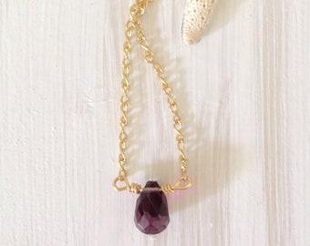 Amethyst necklace, purple quartz necklace, minimalist necklace, purple stone necklace, february birthstone necklace