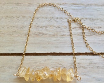 Raw citrine necklace, citrine gold necklace, raw crystal necklace, minimalist necklace, November birthstone necklace