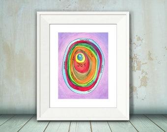 Joy Visual Prayer, Art Print, Joy, Meditation, Prayer, Inspirational Watercolor, 8 x 10, 11 x 14