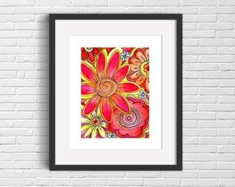 Fun Flowers art print, Warm Colors art print, Fun and Funky art, 8 x 10, 11 x 14