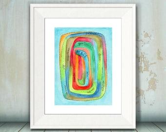 Peace Visual Prayer, Art Print, Peace, Meditation, Prayer, Inspirational Watercolor, 8 x 10, 11 x 14