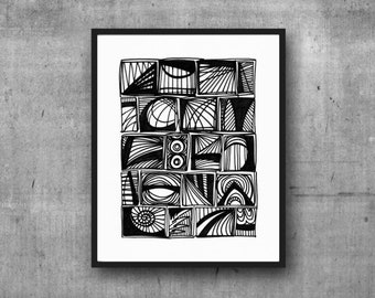 Communication, Abstract Black and White Art, Black and White Art Print, Abstract Print, Minimalist Art, 8 x 10, 11 x 14