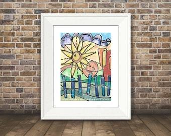 Sunny Day Art, Uplifting Art Print, Positive Art, Colorful Art Print, 8x10, 11x14