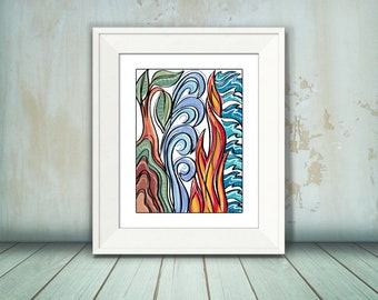 Earth, Air, Fire, Water, Four Elements Print, Abstract Nature Pattern, 8 x 10, 11 x 14