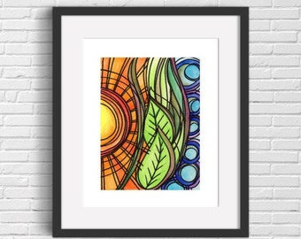 Sun And Earth Print, Abstract Nature Print, Sun, Earth, Sky, Nature Pattern,  8 x 10, 11 x 14