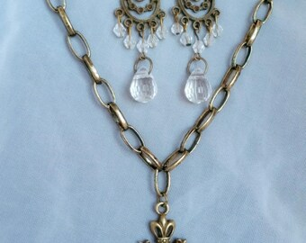 Vintage Elegance Bronze Jewelry Set Necklace Earrings