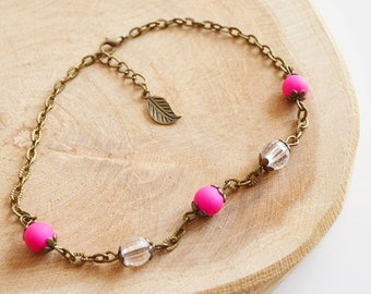 """Ankle bracelet """"beads pink and transparent"""" / Metal Bronze / sheets / women jewelry / handmade / gift idea / fashion / Bohemian"""