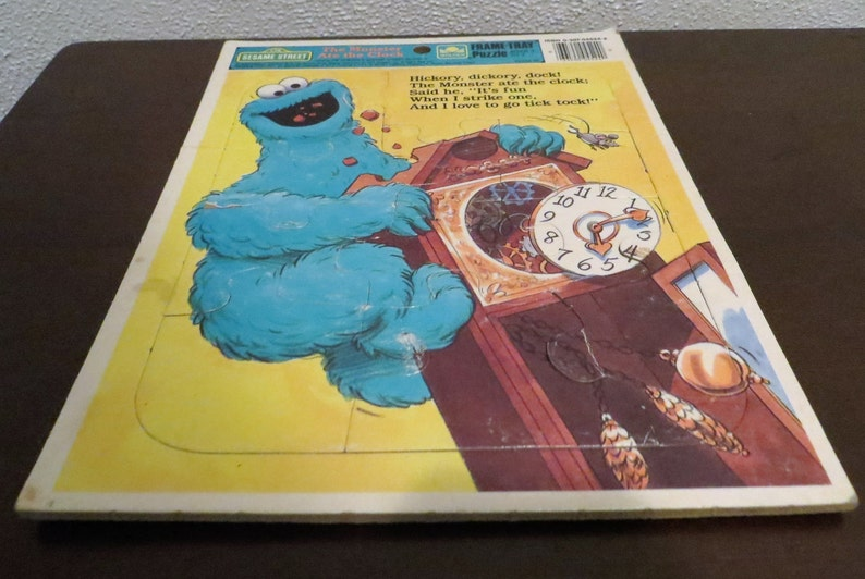 Vintage Cookie Monster, Sesame Street Frame Tray Puzzle, 1989 Children's  Television Workshop, The Monster Ate The Clock