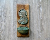 Vintage Brass Mother Mary Holy Water Font on Wood, Weathered Patina Brass Wall Pocket Planter, Garden Wall Decor