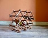 Accordion Teak Wood Wine Rack, Vintage Folding 8 Bottle Rack Table Top Wine Storage