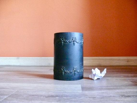 Volutes en métal noir vintage poubelle corbeille à papier etsy