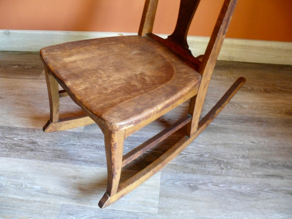 Incredible Ladies Queen Anne Wood Sewing Rocking Chair Vintage Handmade Low Armless Nursery Rocker Victorian Farmhouse Nursery Decor Gamerscity Chair Design For Home Gamerscityorg