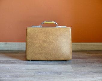 American Tourister Polara Hardshell Brown Briefcase Attache, Tan Brown Textured Briefcase, Laptop Case, Wedding Card Case, Vintage Luggage