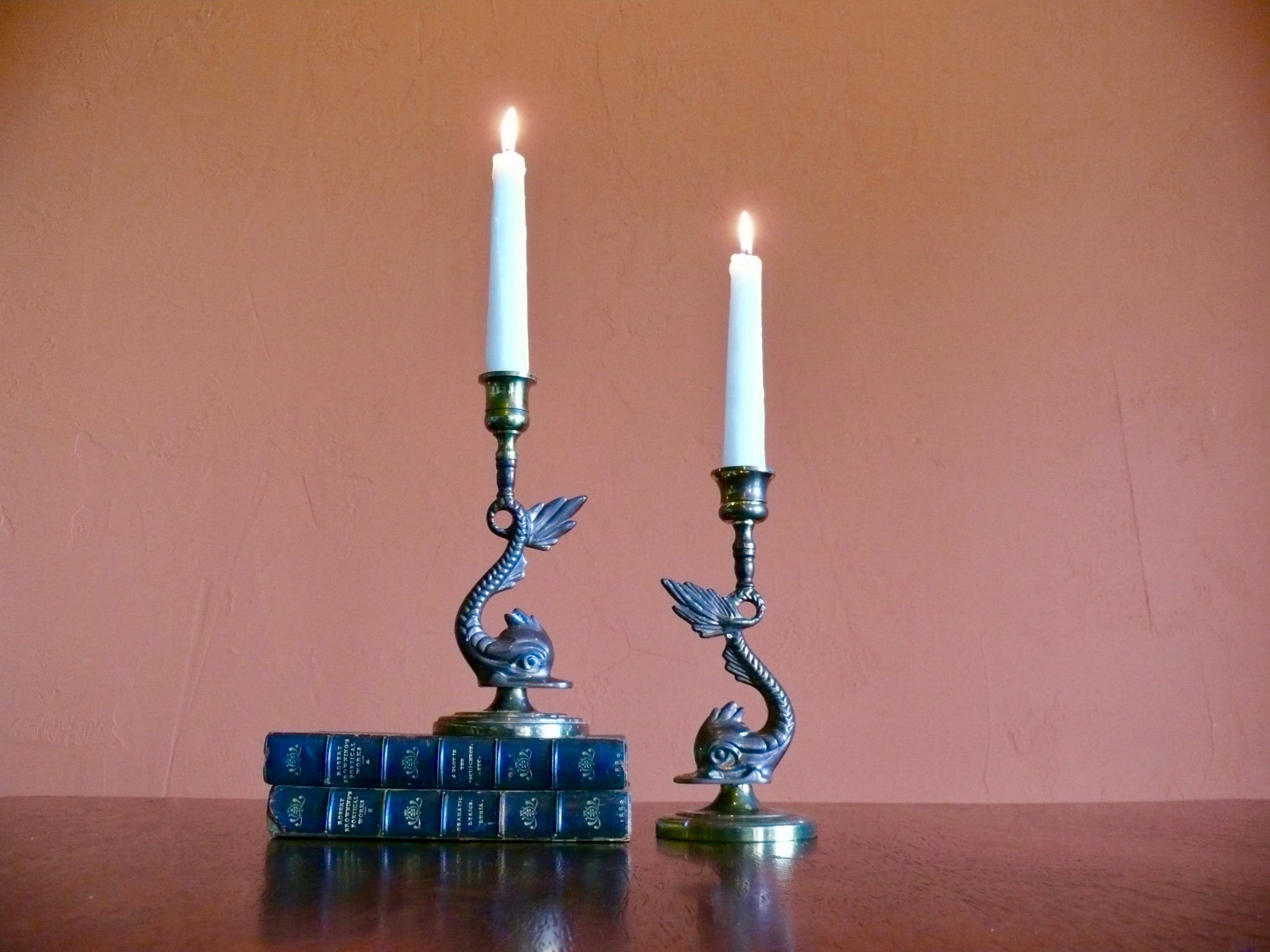 Asian Brass Butterfly Candle Holder with Fish Design Mid Century Wedding Party