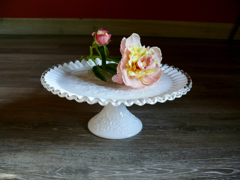 Glass Fenton Silvercrest Serving Sandwich/dessert Plate And Ruffled Edge Compost Bowl We Take Customers As Our Gods
