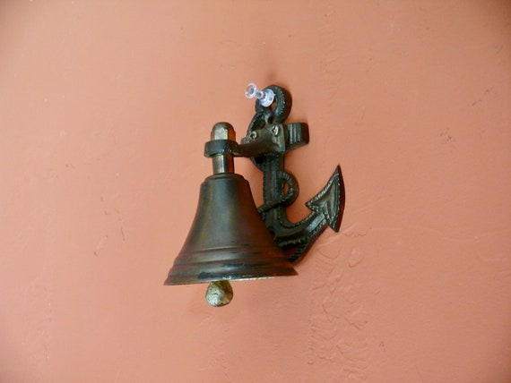 Weathered Brass Wall Mount Front Porch Nautical Bell Small Brass Ships Anchor Bell Vintage Ship Boat Nautical Office Home Decor