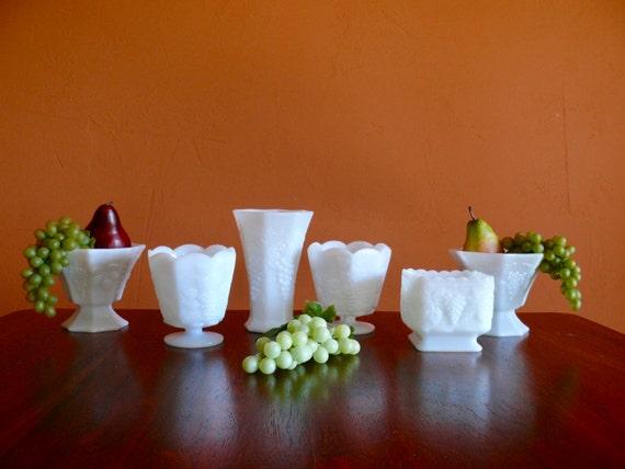 6 Assorted Milk Glass Compotes Vases Harvest Grape Leaf Etsy