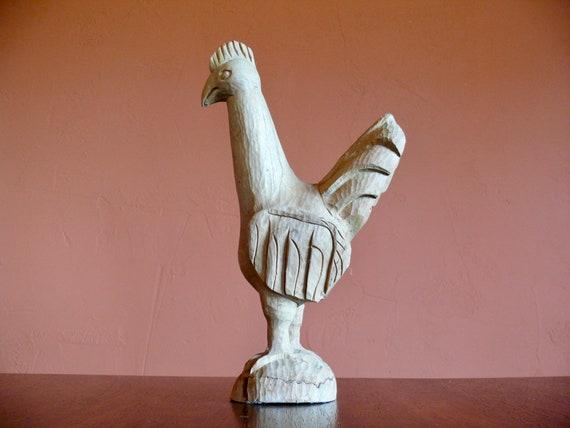 New Primitive Country Farmhouse LARGE WHITE BLACK HEN STATUE Chicken Figurine