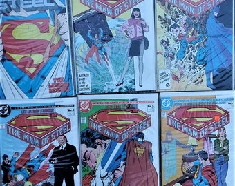 The man of steel comic lot of issues 1-6//dc comics//dc//comicbooks//vintage comics//superman//6 part miniseries