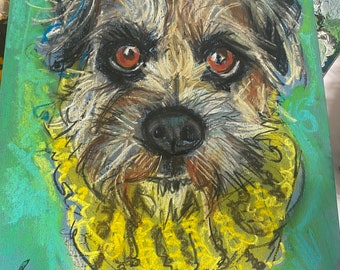 Gorgeous original Border Terrier pen and ink pastel drawing by Higgledy Ink