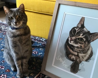 Higgledy Ink Cat Portrait, Cat Portrait, Cat illustration, Kitten Portrait, Cat picture, Family Cat, Custom Cat Portrait, Cat Art,