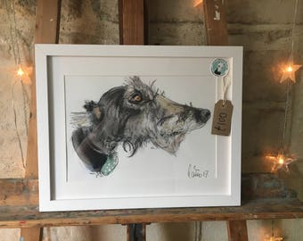Higgledy Ink Original - 'Higgledy'  Framed A4 Pen & Ink, Watercolour and Pastels, Lurcher Art
