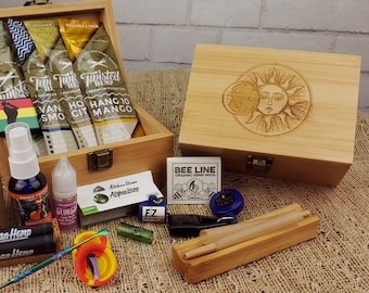 Essentials Gift Box | Bamboo Storage box with Assorted Gift Accessories, Smell Proof Jar, Glass Accessories