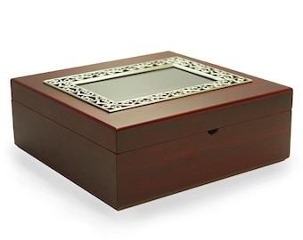 Large Wooden Tazo Tea Box Sampler w/ Frame - Includes Tea!, Teabag Storage, Tazo Tea, Tea Chest