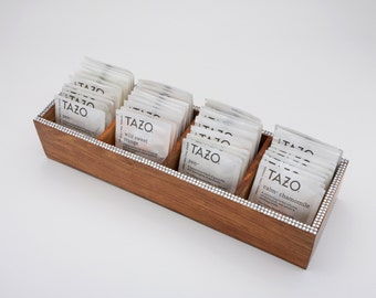 Wooden Tazo Tea Tray Sampler - Teabag Storage, Tea Chest, Tazo Sampler, 44 Tazo Teabags in 11 Assorted Flavors