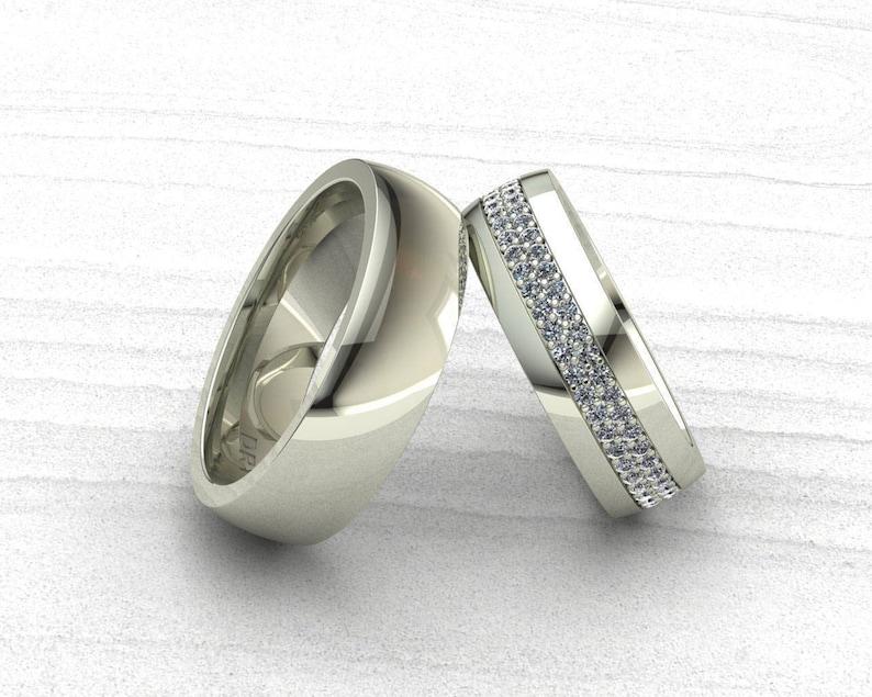 817c3584c23f Anillos para parejas oro blanco 18k con diamantes. Anillos de