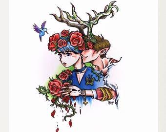 Roses-Fantasy art, Surreal, art print